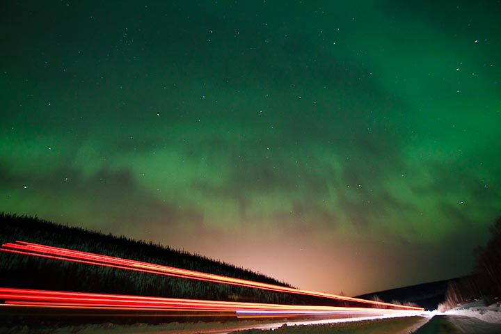 Aurora with Tail Lights